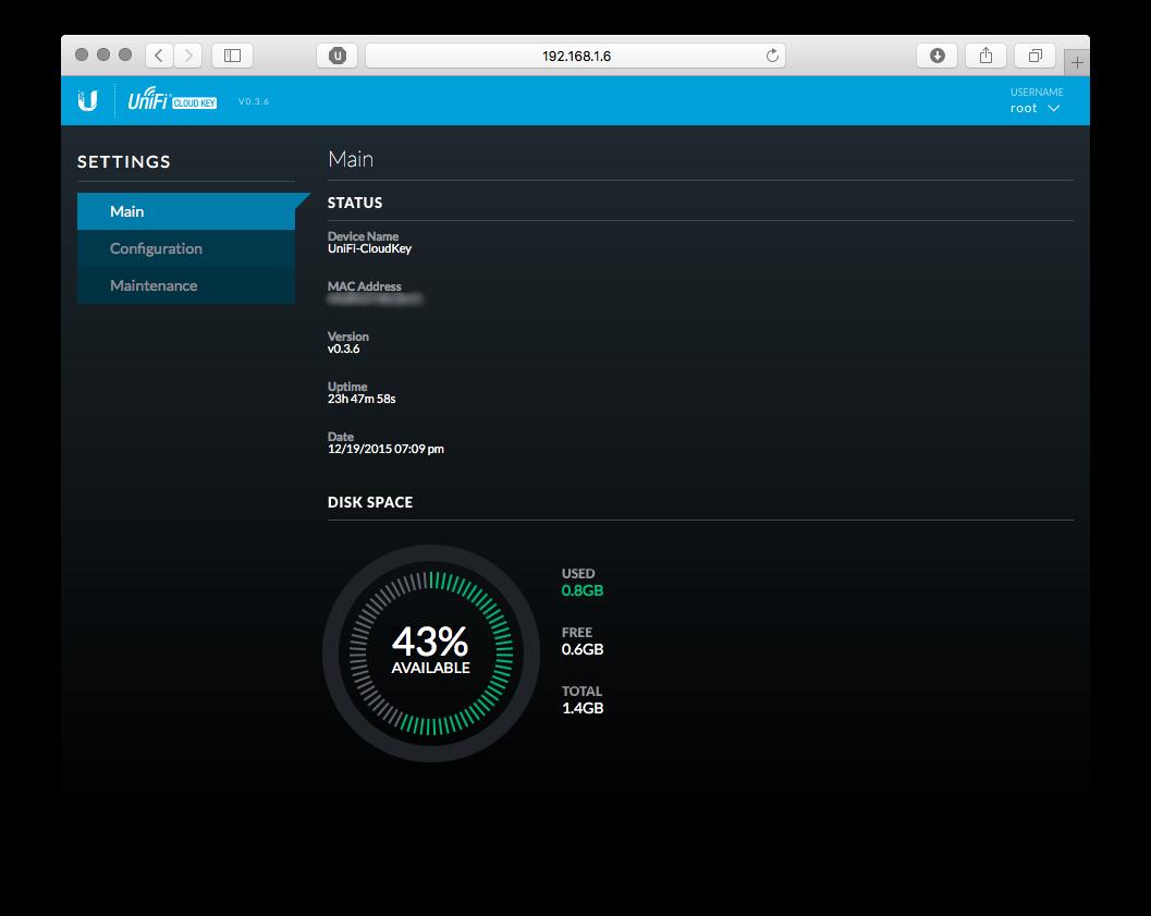UniFi Cloud Key Main Screen