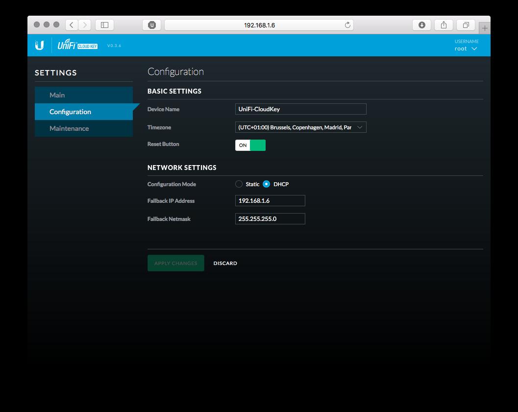 Cloud Key Config Screen