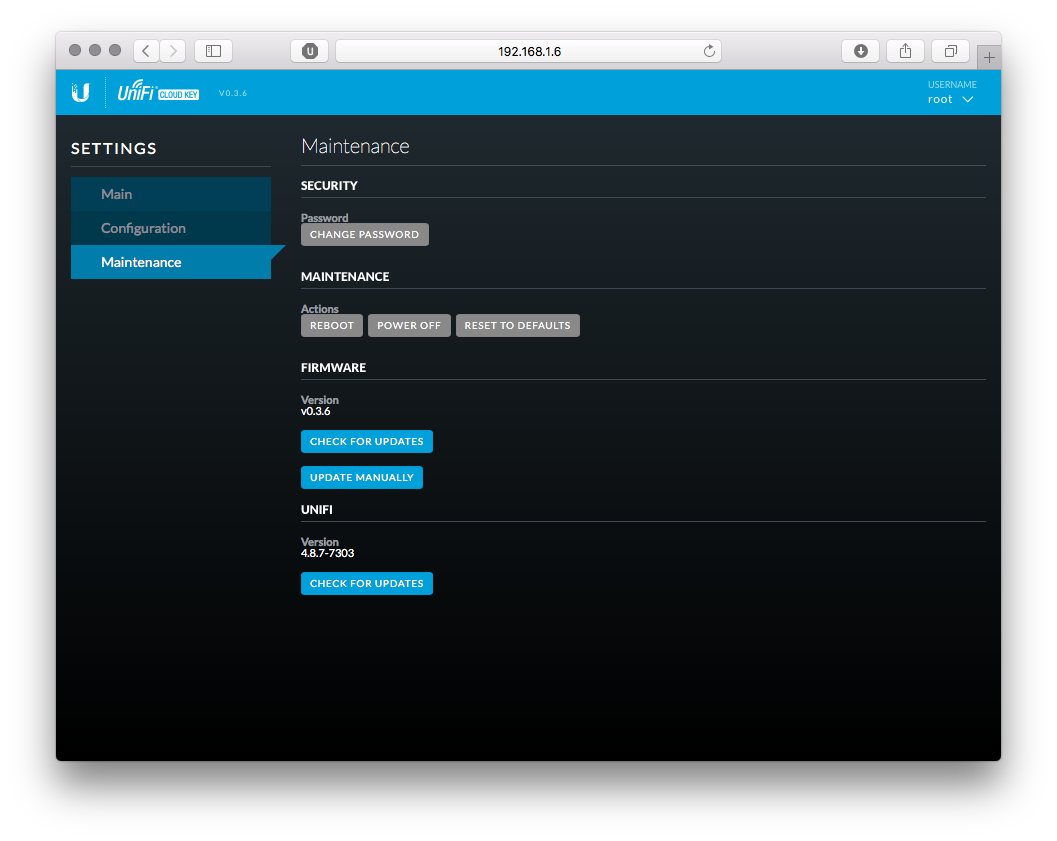 Cloud Key Maintenance Screen